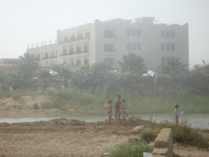 children playing  close to licata coast