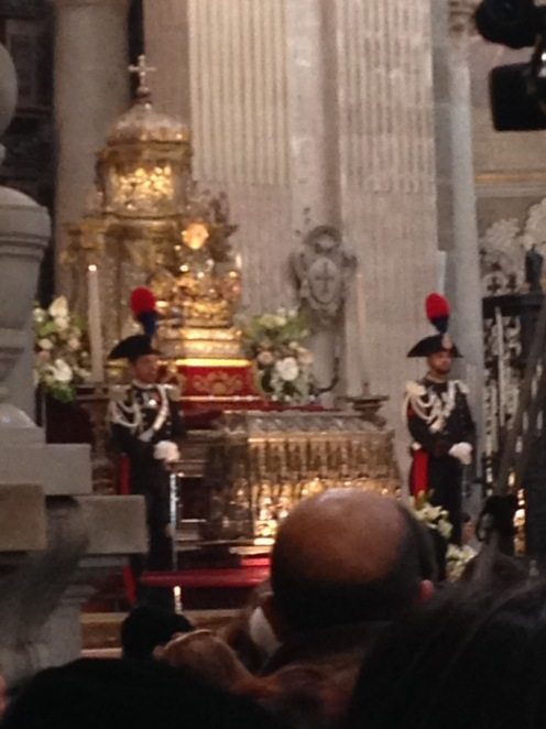 Mass on the 5th of FEbruary The Statue of S Agata is guarded by two CArabinieri in the Cathedral