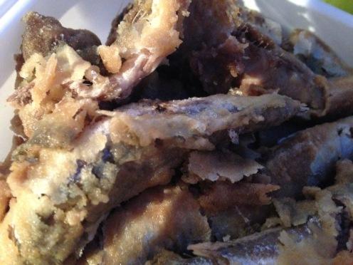 5 close-up fried sardnines